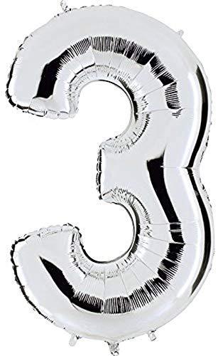 Dancing Queen Geburtstagsluftballons Zahlen Luftballon für Helium & Luft XXL Ballon Zahl 3 Zahlenballon Silber 100 cm