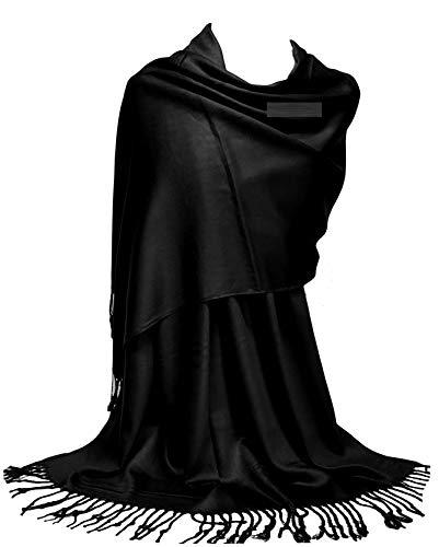GFM Marca Superficie lisa y lisa, pañuelo satinado estilo pashmina (L9PASH)