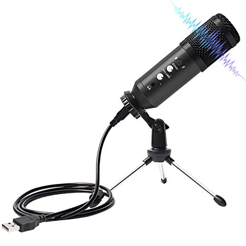 TJLSS USB Condenser Microphone with Tripod Stand for Computer Laptop Studio Podcasting Recording Microphone for Live Gaming