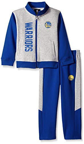 NBA by Outerstuff NBA Toddler Golden State Warriors On The Line Jacket & Pants Fleece Set, Blue, 4T