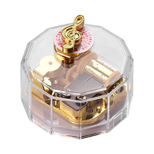 Dodecagon Transparente Acryl-Spieluhr Gegen Den Uhrzeigersinn Uhrwerk Musicbox Vergoldete Musikbewegung Für Freunde Liebhaber Familien Geschäftskunden