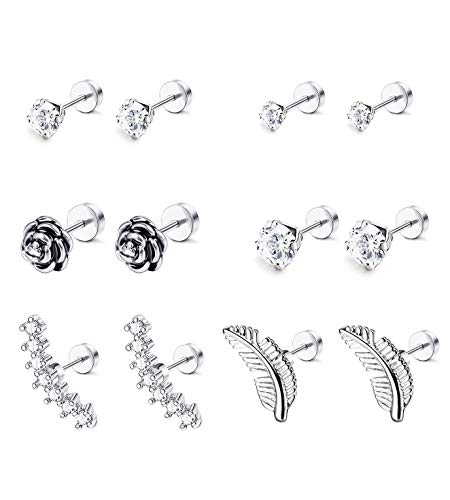 LOYALLOOK 6-8 Pairs 16G Stainless Steel Flower Feather Cartilage Cubic Zirconia Inlaid Helix Hoop Stud Earrings Tragus Piercing Jewelry for Men Women