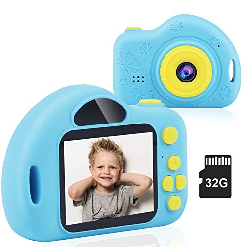 CHUNXU Kids Camera,Digital Video Camera for 3-10 Years Old Girls Boys,32GB SD Card Rechargeable Battery Compact Cameras for Children Birthday (Blue)