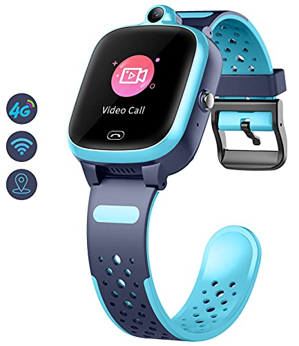 4G Smart Watch for Kids - Smartwatch with GPS WiFi LBS Tracker Real Time Position HD Touch Screen SOS Video Call Waterproof Message Compatible Android and iOS for Boys Girls (Blue)