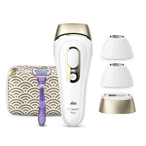 Braun Silk-Expert Pro 5 PL5137MN IPL Haarentfernungsgerät für dauerhaft sichtbare Haarentfernung, für Körper & Gesicht, 4 Aufsätze, weiß/gold