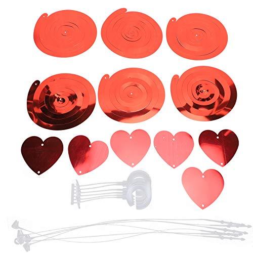 Confeti de corazón, 3 tarjetas reutilizables, románticos remolinos de corazón colgantes, hermoso para decoraciones, suministros para bodas, fiestas en casa