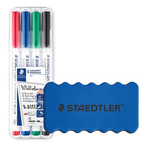 Staedtler Lumocolor Whiteboard-Marker, Rundspitze ca. 1 mm Linienbreite, Set mit 4 brillanten Farben (+ Löscher)
