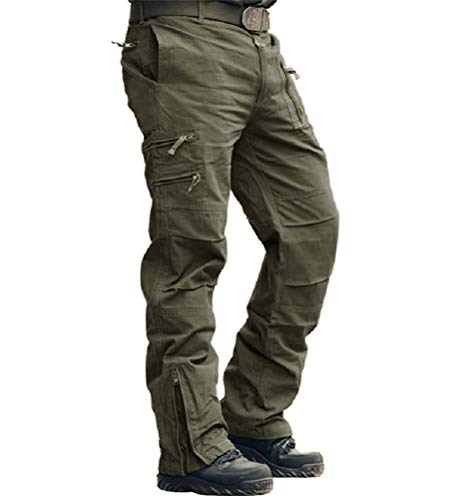 Onsoyours Pantaloni Cargo Uomo con Tasche Pantaloni Camouflage Militari Pantaloni Militare Elasticizzati Trekking Baggy Lunghi Oversize Casual Calzoni Vintage Outdoor A ArmyGreen XL