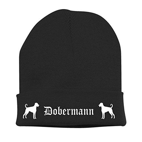 Siviwonder Strickmütze Bad - Dobermann UNKUPIERT Pinscher Security K9 Diensthund DOBI - Stickerei ALTDEUTSCH Hund Winter Mütze Wintermütze Beanie Mütze schwarz-weiß