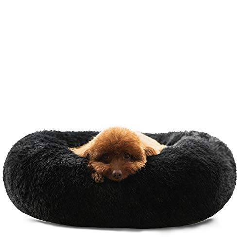 HACHIKITTY Dog Beds Calming Donut Cuddler, Puppy Dog Beds Medium Dogs, Fluffy Dog Calming Beds Large,24''