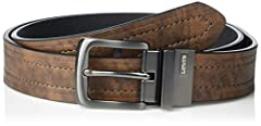 REVERSIBLE CONSTRUCTION: Reversible construction with srotative buckle to reverse with ease from one side to another. Pull appart the buckle at the hinge while rotating it and put it back in place to use your belt one way or another STYLE: Buy One be...