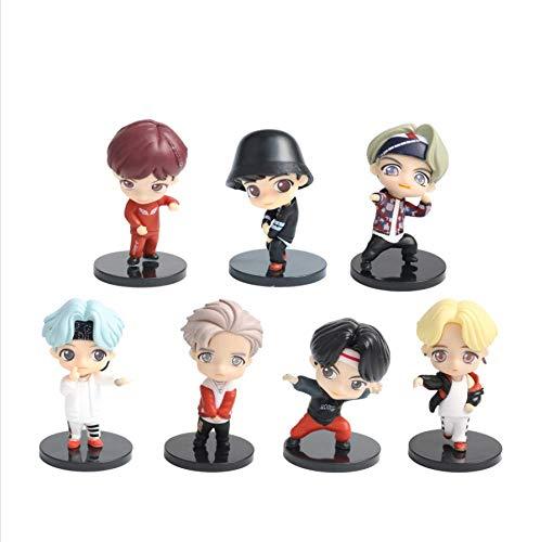 7 Pezzi BTS Mini Vinyl Figure Set con Jin V Jimin RM E J Hope K Pop Merch Figure da Collezione per I Tuoi Amici Nipote Sorella Fidanzata Fans