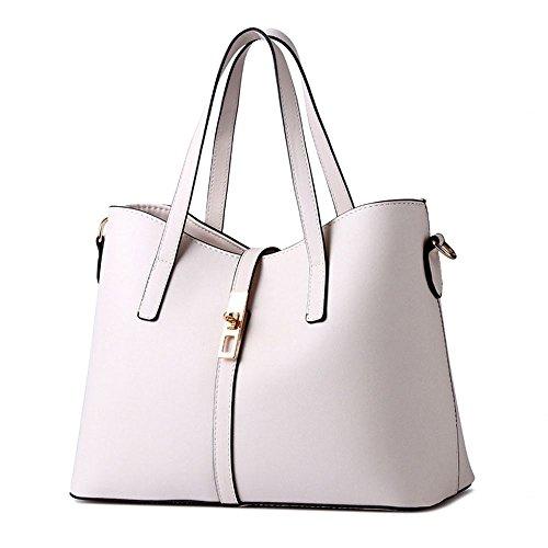 Koson-Man da donna, in pelle sintetica, stile Vintage, con cerniera, tracolla per piccola borsa Tote Bags maniglia superiore, bianco (Bianco) - KMUKHB148