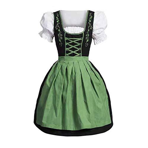 kenebo Halloween Kleider Cosplay Gothic Grwn Kostüm Mittelalter Performance Victoria Maid Bier Dirndl Renaissance Gr. XXX-Large, grün