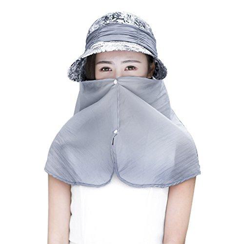 YJZQ Cappello da sole con visiera pieghevole e maschera da viso per la protezione del collo UV 50+, Cappello da pesca e anti zanzara per viaggio, grigio, S - 36