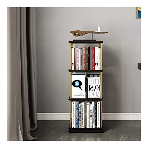 Estantería de Oficina Biblioteca de madera sólida giratoria Diseño humanizado Cuadrado Librería múltiple de múltiples capas del hogar Multifuncional de almacenamiento Estante de la cabina de la cama d