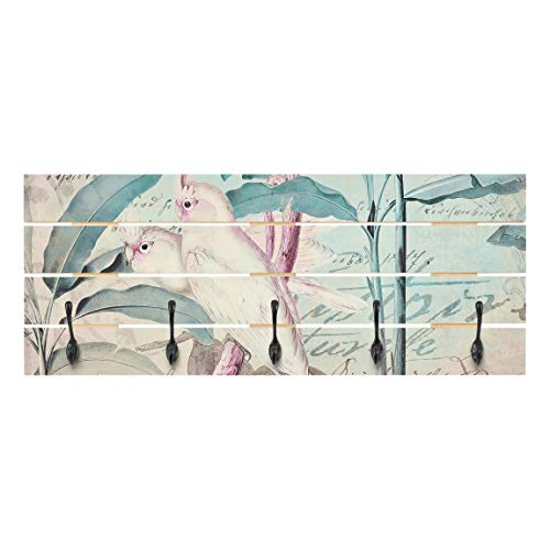 Bilderwelten Perchero de Madera Colonial Style Collage Cockatoos and Palm Trees Ganchos Negros 40x100cm