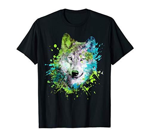 Wölfe-Liebhabergeschenke des Aquarellwolfkopfes bunte T-Shirt
