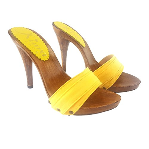 Kiara Shoes Zoccoli Gialli da Mare Tacco 12 - KM7101 Giallo (38, Giallo)