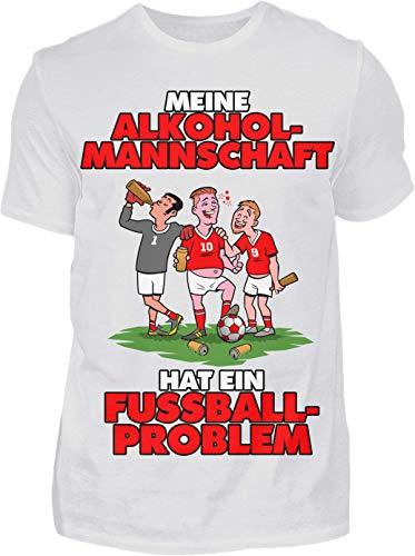 Meine Alkoholmannschaft hat EIN Fussball Problem - Premium Shirt - Das Kreisliga Shirt für alle Kreisliga Fußballer und Fans (L, Weiss)