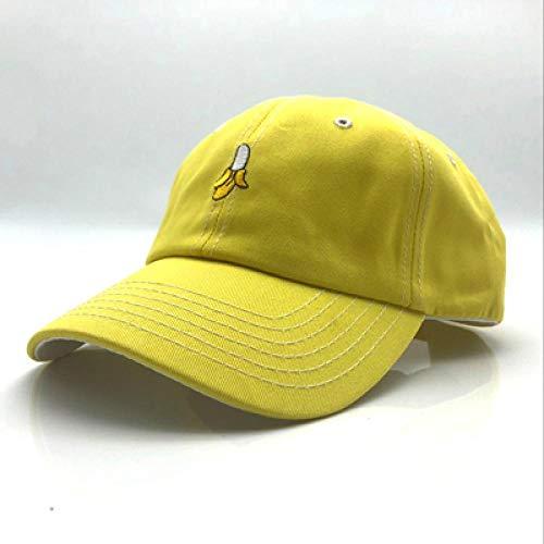 Baseball Kappe New Pure Color Cotton Cap Banana Fruit Embroidery Baseball Cap Fashion Men and Women Adjustable Adult Sunscreen Hip Hop Hat 55-60Cm Yellow