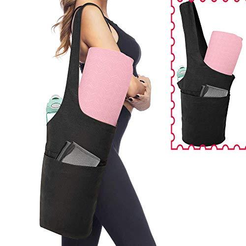 Yoga Canvas Bag, Large Size 2 Pockets Stevige Sport Yoga Mat Schoudertas, Draagbare Grote Side Bag Past De Meesten Grootte Mats