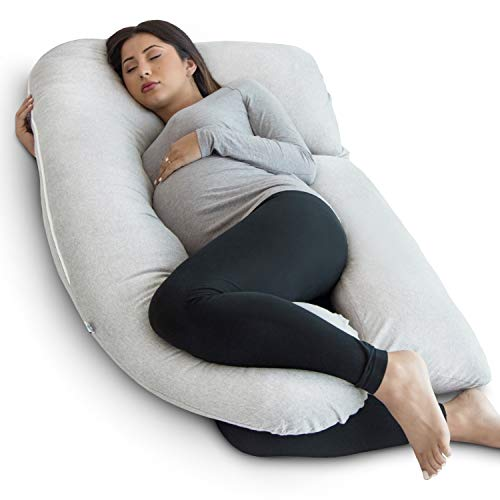 PharMeDoc Pregnancy Pillow, U-Shape Full Body Pillow and Maternity Support - Support for Back, Hips, Legs, Belly for Pregnant Women (Light Gray, Detachable)