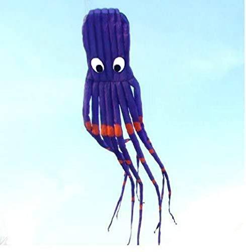 7M Large Octopus Paul Parafoil Kite Purple with Handle & String Outdoor Park Beach Fun by L.W.