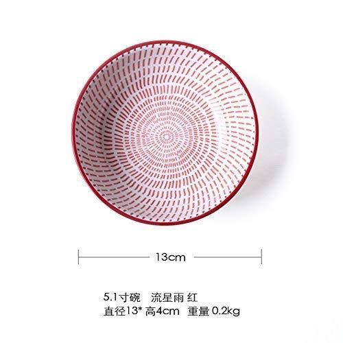 Eenvoudige Japanse Bowl tafelgerei 5 Inch Rice Bowl Short Bowl handgeschilderde blauwe en witte saus saus Schotel Meteor Shower Red 5,1 Inch 13 * 4 cm Servies Servies 8bayfa