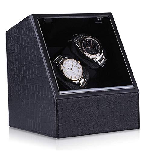 KATLY Automatic Table Shaker,Uhrenbeweger für 2 Uhren aus PU Leder Watch Winder mit Netzteil Teilen Batterie Uhrenbox mit Leiser Motor Schwarz