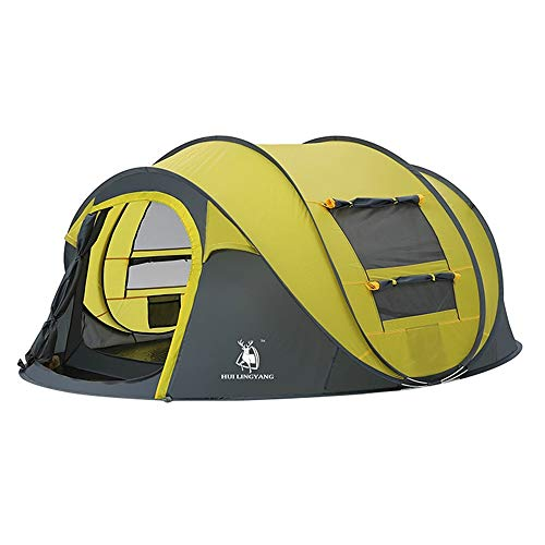 NBNBN Camping Tents for Family Camping Tent Backpack Picnic Hiking Fishing Outdoor Use Waterproof Awning with Carry Bag and Quick Set-up (Color : Yellow, Size : One Size)
