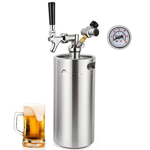 SIRUL 3.6L Mini Barril de Cerveza de Acero Inoxidable, Barril portátil de Acero Inoxidable casero, con Boquilla de Grifo Desmontable y regulador de CO2 Que se Mantiene Fresco bajo presión