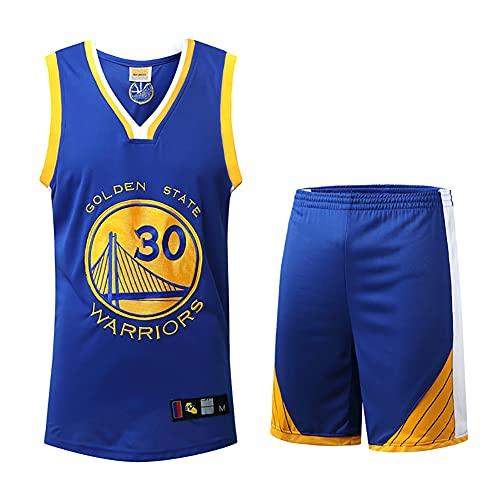 QAOSHOP Camiseta de Baloncesto para Hombres Sin Mangas + Pantalones Cortos, Guerreros # 30 Baloncesto Swingman Edition Jerseys, Chaleco Deportivo de Malla,Azul,3XL
