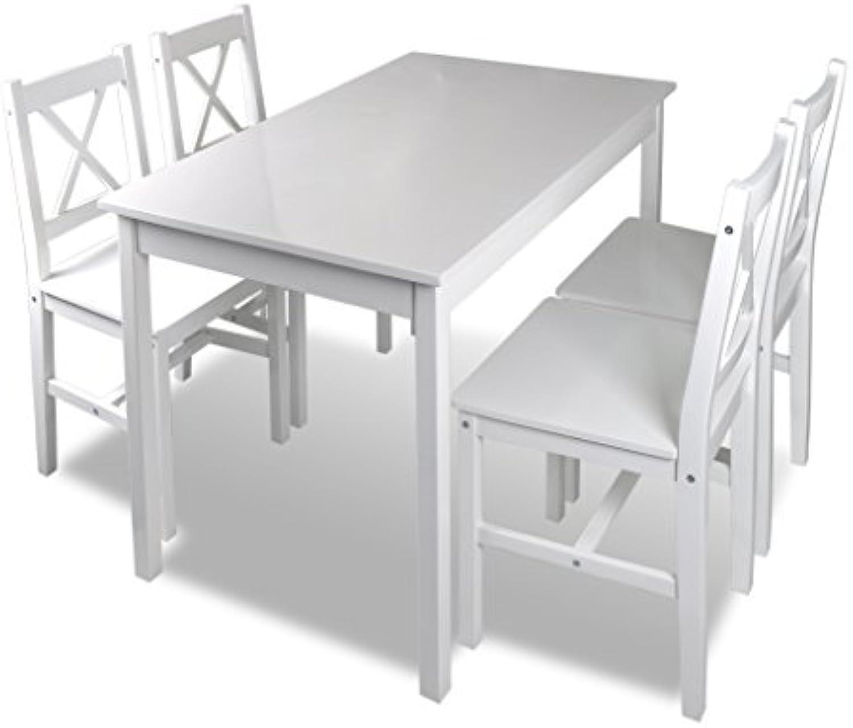 Anself Esstischgruppe Tischgruppe aus Holz mit 4 Stühlen und Esstisch Wei