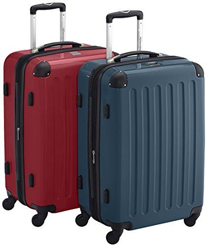 HAUPTSTADTKOFFER - Alex - 2er Koffer-Set Hartschale glänzend, TSA, 65 cm, 74 Liter, Rot-Waldgrün