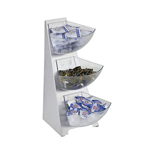 APS Multi-Rack, Küchenregal, Gestell, 18/0 Edelstahl, matt poliert, 3 Schütten aus transparent gefrostetem Kunststoff, Volumen pro Schütte 1 Liter Inhalt, 3-stufig
