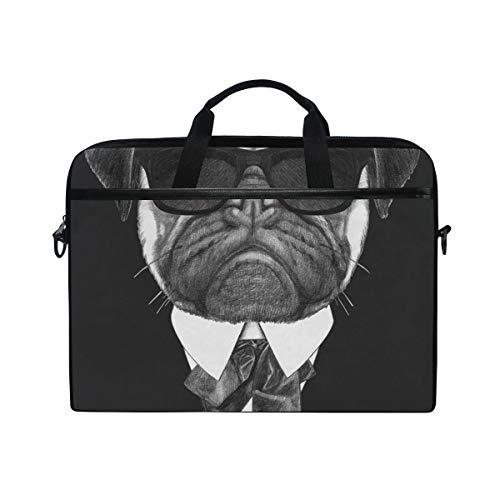 EZIOLY Pug Dog In Suit Laptop Shoulder Messenger Bag Case Sleeve for 13 Inch to 14 inch Laptop