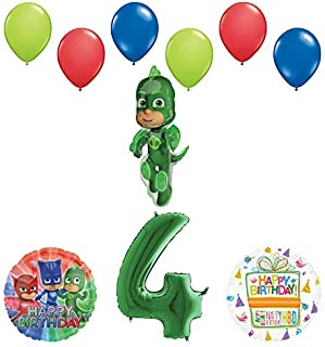 Mayflower Products PJ Masks Gekko 4th Birthday Party Supplies Balloon Bouquet Decorations