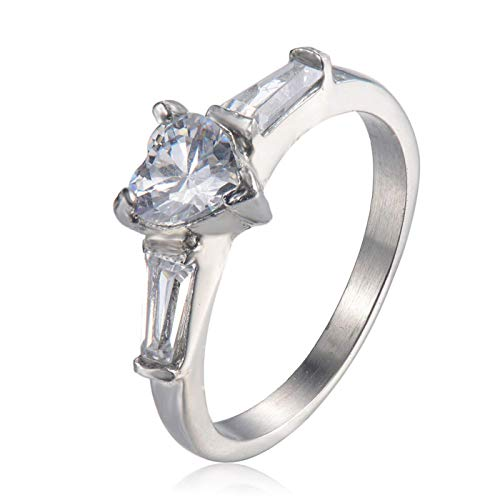 MEINLY CLASSICS HERZ ~ Stilvoller und Eleganter Ring Verlobungsring für Damen Frauen hochwertigem 316L Chirurgenstahl VERGOLDET mit 18K Gold mit Edelsteinen in Herz- & Baguette Schliff (52 (16.6))