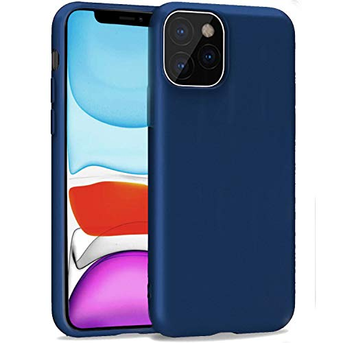 iBarbe Compatible with iPhone 11 PRO 5.8 Inch Case, Soft Plastic Slim Fit Full Protective Cover with Matte Finish Grip Phone Bumper with Anti-Scratch Shockproof Protective Cover -Dark Blue