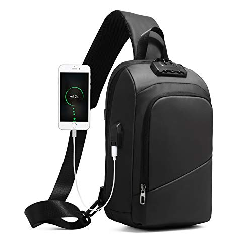 Anti-theft Sling Backpack for Men Crossbody Shoulder Bag with USB Casual Daypack Waterproof Black