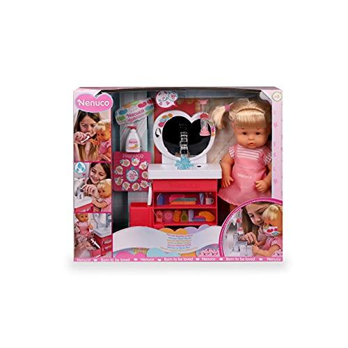Nenuco - ¿Nos lavamos las manos?, muñeco bebé de cuerpo duro, con lavabo de juguete que funciona y accesorios, para jugar a los cuidados y aprender, para niños y niñas de 3 años, Famosa (700016659)