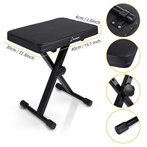 Donner Keyboard Bench, Piano Bench Adjustable Collapsible X-Style Stool Chair Seat, 1.6 Inch Thickness High-Density Sponge, Non-Skid Design, Black