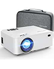Projector, DBPOWER RD-820 Mini Projector Portable Video Projector with Carrying Case, 5500Lux 1080P and 200'' Display Supported, Projector Compatible with TV Stick, PS4, HDMI, VGA, TF, AV and USB
