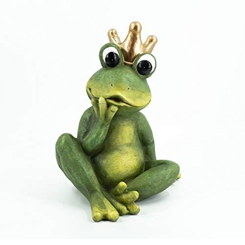 DRULINE XXL Gartenfigur Froschkönig Dekoration Garten für Draußen mit Goldener Krone zum hinstellen aus Keramikgemisch Wetterfest | L x B x H 38 x 33 x 48cm | grün grau