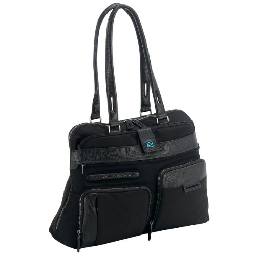 Cartella porta computer Piquadro Signo nero a due manici con tasca frontale BD2760SI/N