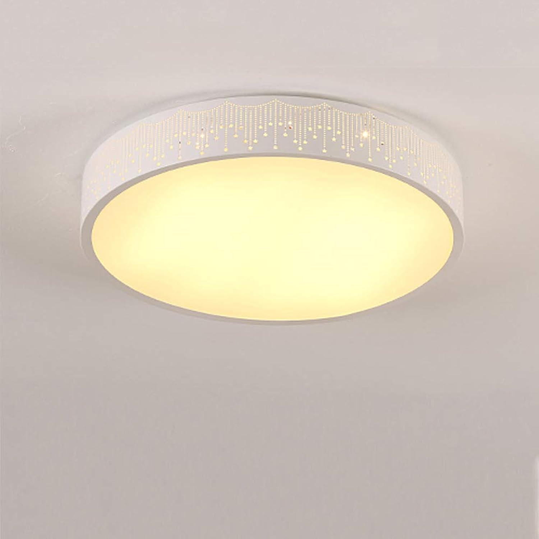 CUICANH Moderner LED Deckenleuchte Runde, Einfache Eisen Deckenlampe Mit fernbedienung Für Schlafzimmer Kinderzimmer Wohnzimmer Lampen-A-TriFarbe (12inch)-24W