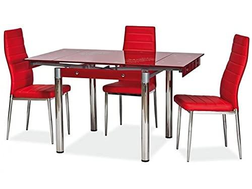 Mesa extensible de cristal rojo GD-082