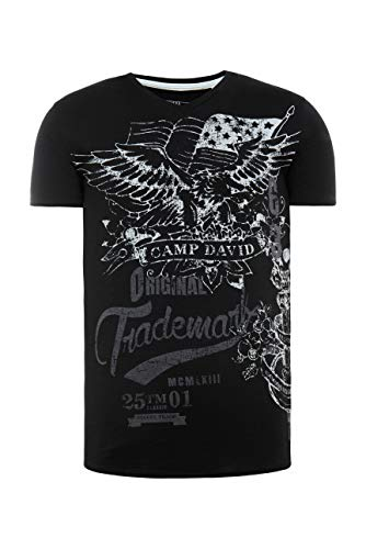 Camp David Herren V-Shirt aus Slub Yarn mit Vintage Print, Black, XXL