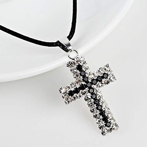 ZLININ Y-Longhair Jesús Colgante Colgante Moda Cristo Cristo Jesús Cuerda Collar Religión Mujeres Negro Cristal Rhinestone CZ Collar Pendiente Collar Joyería